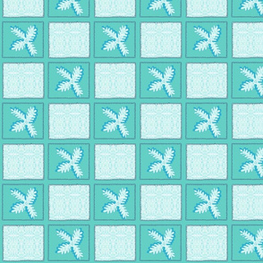 Turquoise Snowpatches for Christmas Quilt