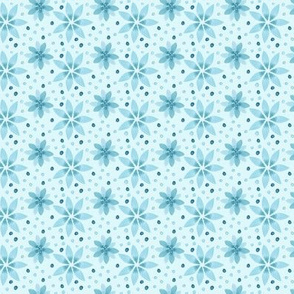 Teal Blue Flower Floral || Snowflake Winter Fall _ Miss Chiff Designs
