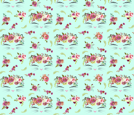 "2.5"" Floral Cat Heads Mint fabric by lil'faye on Spoonflower - custom fabric"