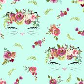Floral Cat Heads Mint