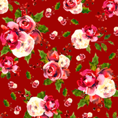 Christmas Floral Cranberry Red
