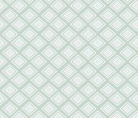 Aztec - White, Light Mint fabric by fernlesliestudio on Spoonflower - custom fabric