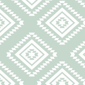 Aztec - White, Light Mint
