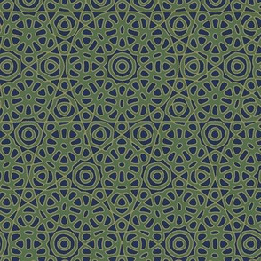 Flower quasicrystal in navy and pine