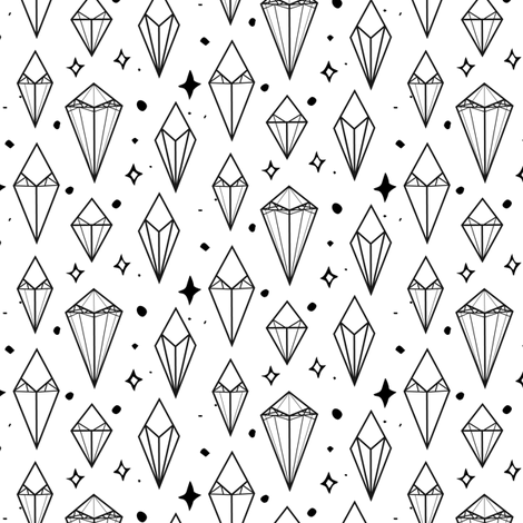 Black and White gem crystals fabric by pixabo on Spoonflower - custom fabric