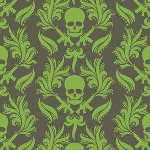 Damask skulls Greenery-in-bronze-mist
