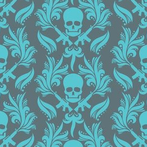 Damask Skulls Blue-radiance-in-goblin-blue