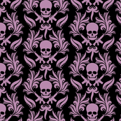 Damask skulls, Smoky-Grape-in-Black