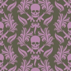 Damask skulls Smoky-Grape-in-Bronze-Mist