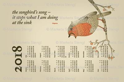 2018 Calendar, Sunday / Haiku Songbird