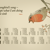 2018 Calendar, Sunday / Haiku Songbird