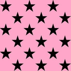 One Inch Black Stars on Carnation Pink