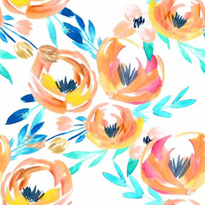 Summer Tropics Peach Turquoise Blue Floral