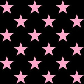 One Inch Carnation Pink Stars on Black