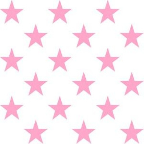One Inch Carnation Pink Stars on White