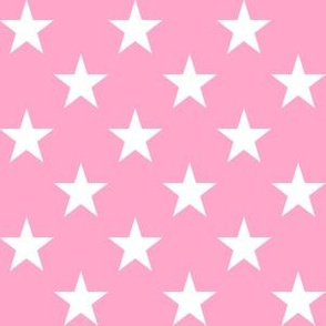 One Inch White Star on Carnation Pink