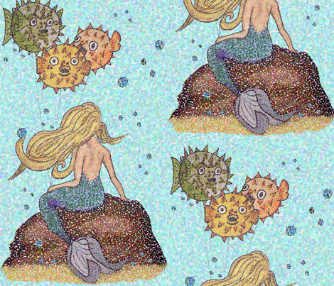 Birthday_Mermaid fabric by tastili on Spoonflower - custom fabric