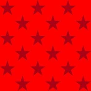 One Inch Dark Red Stars on Red