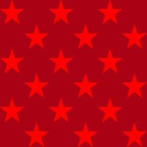 One Inch Red Stars on Dark Red