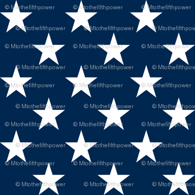 One Inch White Stars on Navy Blue