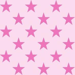 One Inch Dark Pink Stars on Light Pink