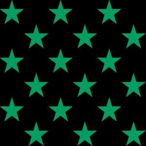 One Inch Shamrock Green Stars on Black