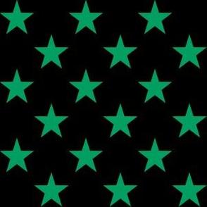 One Inch Shamrock Green Stars on Black