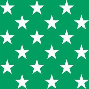 One Inch White Stars on Shamrock Green