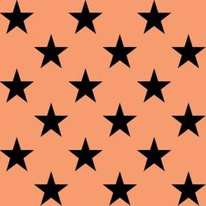One Inch Black Stars on Peach