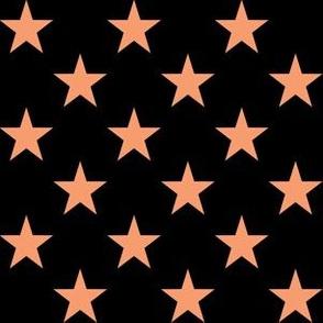 One Inch Peach Stars on Black