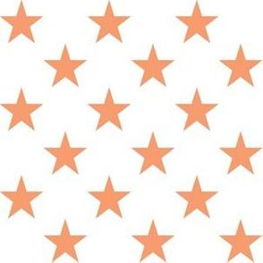 One Inch Peach Stars on White