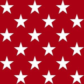 One Inch White Stars on Dark Red
