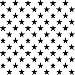 Half Inch Black Stars on White