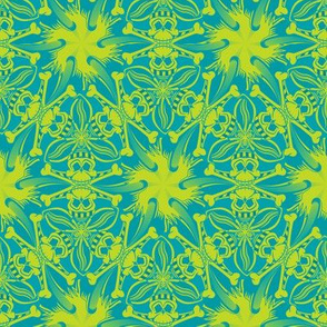 ★ PIRATE SKULL GEOMETRIC PATTERN ★ Teal Blue and Lime Green - Small Scale / Collection : Funky Pirates - Skull and Crossbones Prints 2