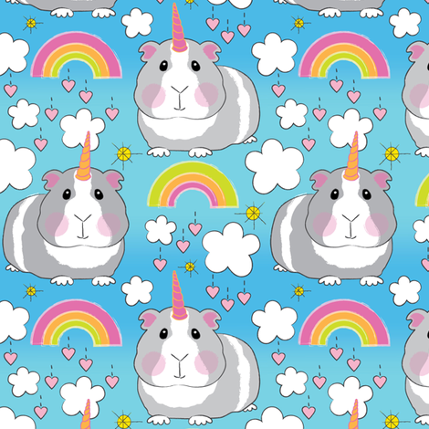 guinea pig unicorns-and-rainbows fabric by lilcubby on Spoonflower - custom fabric