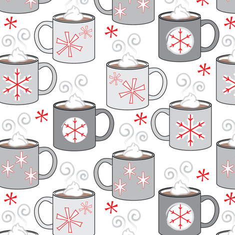 hot-chocolate-and-snowflakes fabric by lilcubby on Spoonflower - custom fabric