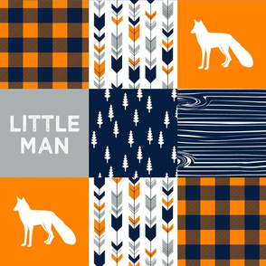 patchwork wholecloth orange and navy - fox and arrows