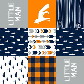patchwork wholecloth orange and navy - fox and arrows (90)
