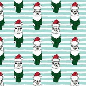 holiday llama on stripes