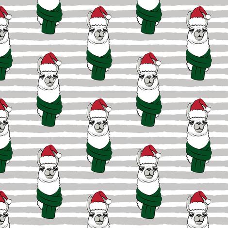 holiday llama on grey stripes fabric by littlearrowdesign on Spoonflower - custom fabric
