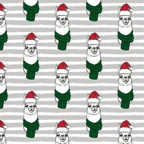 holiday llama on grey stripes