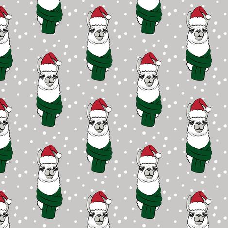 holiday llama on grey fabric by littlearrowdesign on Spoonflower - custom fabric