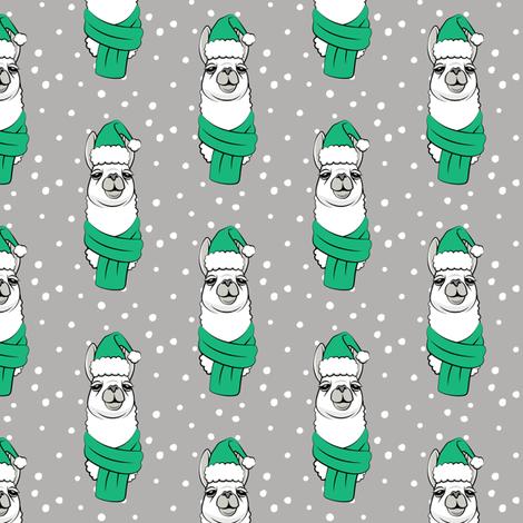 holiday llama - green on grey fabric by littlearrowdesign on Spoonflower - custom fabric