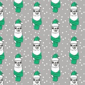 holiday llama - green on grey