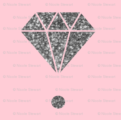 Silver diamond pink polka dot