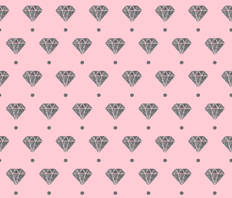 Silver diamond pink polka dot fabric by lub_by_lamb on Spoonflower - custom fabric
