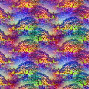 SMALL POINTILLIST JUNGLE SAVANNAH TREES blue sky