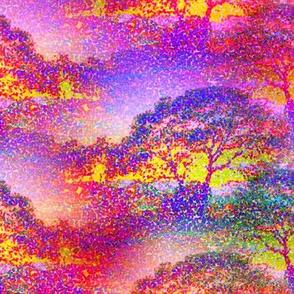 SMALL POINTILLIST JUNGLE SAVANNAH TREES PINK SUNRISE