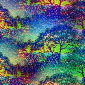 SMALL POINTILLIST JUNGLE SAVANNAH TREES MYSTIC NIGHT