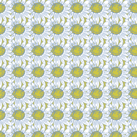 Daisies in Blue fabric by palusalu on Spoonflower - custom fabric